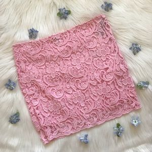 Pink Lace Bodycon Mini Skirt